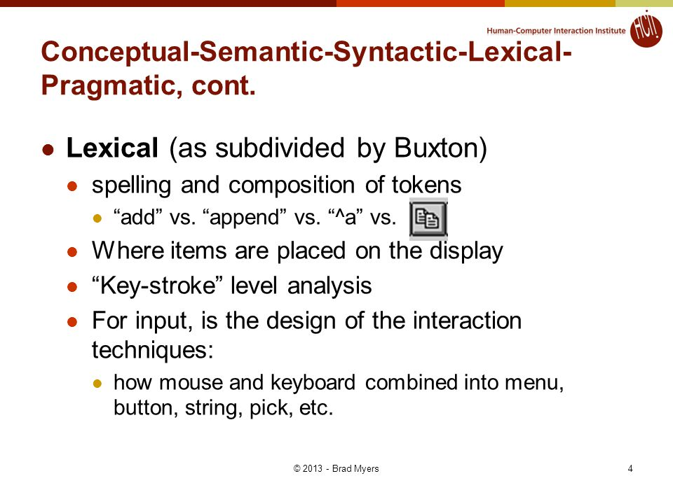 "4 Conceptual-Semantic-Syntactic-Lexical- Pragmatic, cont. Lexical (as subdivided by Buxton) spelling and composition of tokens ""add"" vs. ""append"" vs."