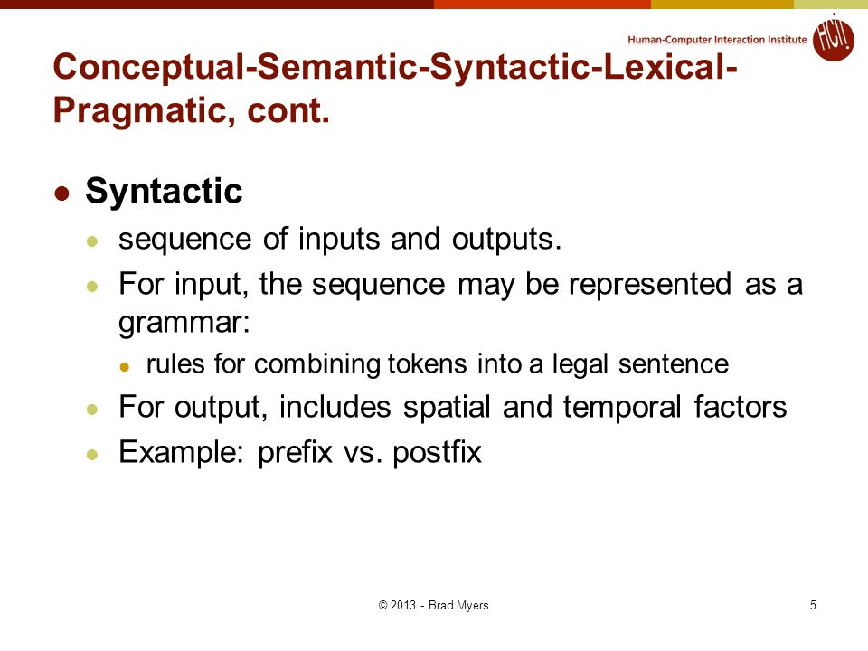 5 Conceptual-Semantic-Syntactic-Lexical- Pragmatic, cont. Syntactic sequence of inputs and outputs. For input, the sequence may be represented as a gr