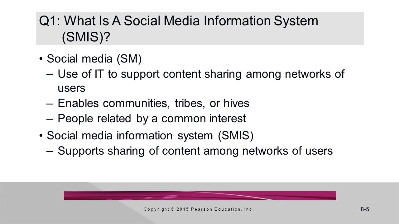 8-6 Social Media Is a Convergence of Disciplines Copyright © 2015 Pearson Education, Inc.