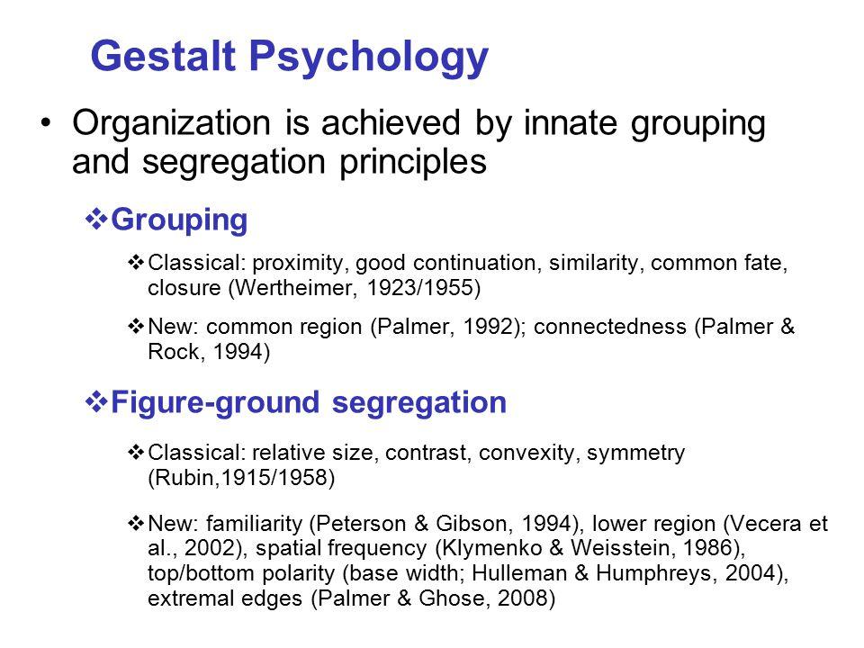 Studies beyond the 1-2 years: Protracted developmental trajectory for some perceptual organization abilities, even those that appear to emerge during infancy:  Visual spatial integration (e.g., Hadad & Kimchi, 2006; Hadad et al., 2010; Kaldy & Kovacs, 2003; Kovacs, 2000; Kovacs et al., 1999)  Subjective contours (e.g., Abravanel,1982; Hadad et al., 2010)  Grouping multiple elements into a global shape (Burack et al., 2000; Enns et al., 2000; Kimchi et al., 2005; Mondloch et al., 2003; Scherf et al., 2009)
