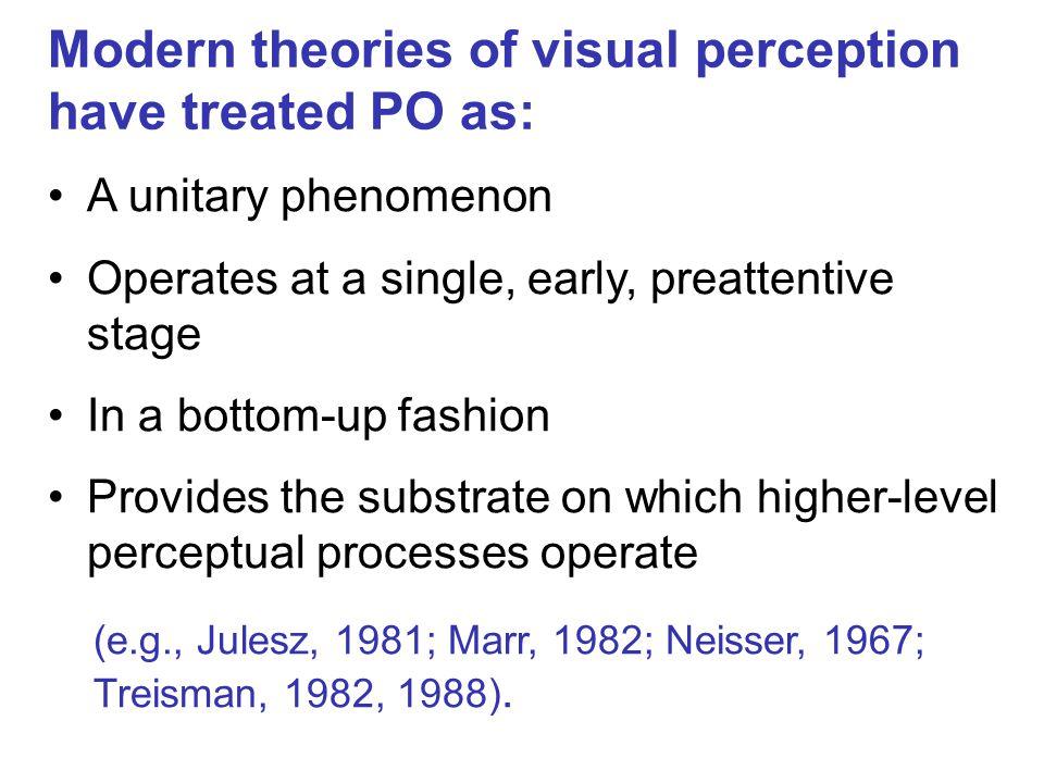 PO: Not a monolithic entity but a multiplicity of processes (Behrmann & Kimchi, 2003; Kimchi, 2003) Time course (e.g., Han et al., 2002; Hadad & Kimchi, 2008; Kurylo, 1997; Kimchi, 1998, 2000; 2012; Razpurker-Apfeld & Kimchi, 2007) Developmental trajectory (e.g., Hadad & Kimchi, 2006; Hadad et al., 2010; Hayden et al., 2009; Kimchi, 2012; Kimchi et al., 2005; Kovacs, 2000; Scherf et al., 2009; Quinn & Bhatt, 2006) Multifaceted relationship with attention (e.g., Ben Av & Sagi, 1995; Freeman et al., 2001; Kimchi & Razpurker-Apfeld, 2004; Kimchi & Peterson, 2008; Kimchi et al., 2007; Moore et al., 2003; Russell & Driver, 2005; Shomstein et al., 2010 ) Influenced by experience and familiarity (e.g., Kimchi & Hadad, 2002; Peterson & Gibson, 1994; Vickery & Jiang, 2009; Zemel et al., 2002)