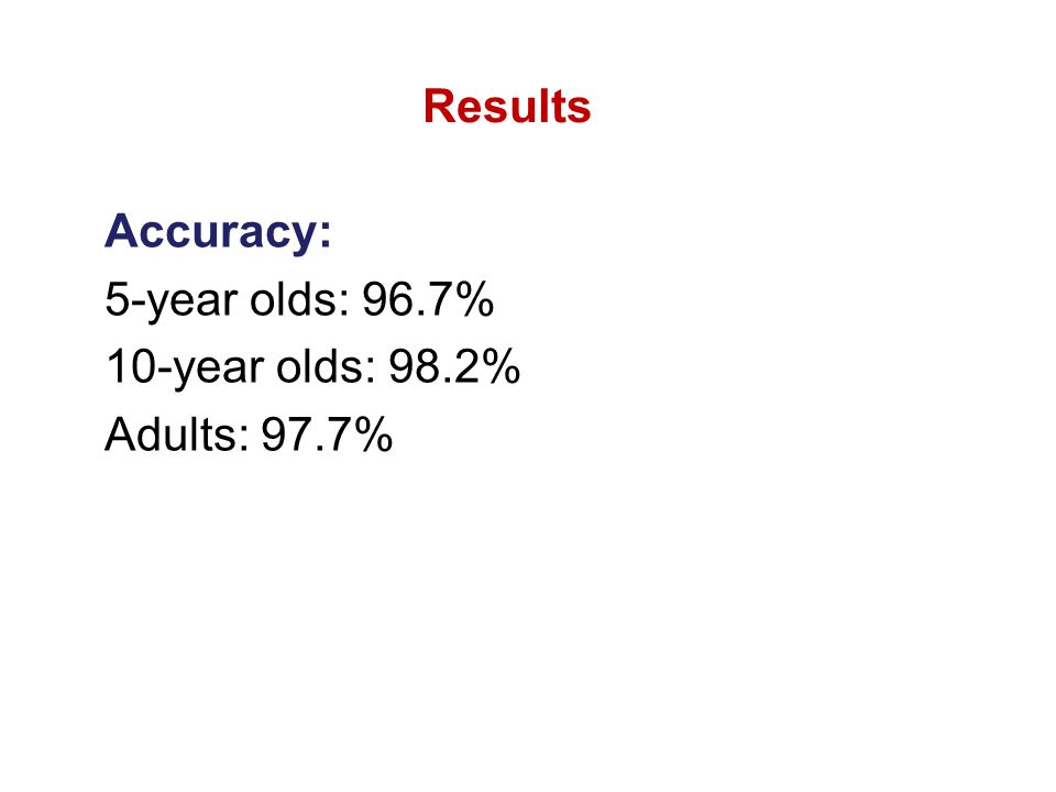 Accuracy: 5-year olds: 96.7% 10-year olds: 98.2% Adults: 97.7% Results
