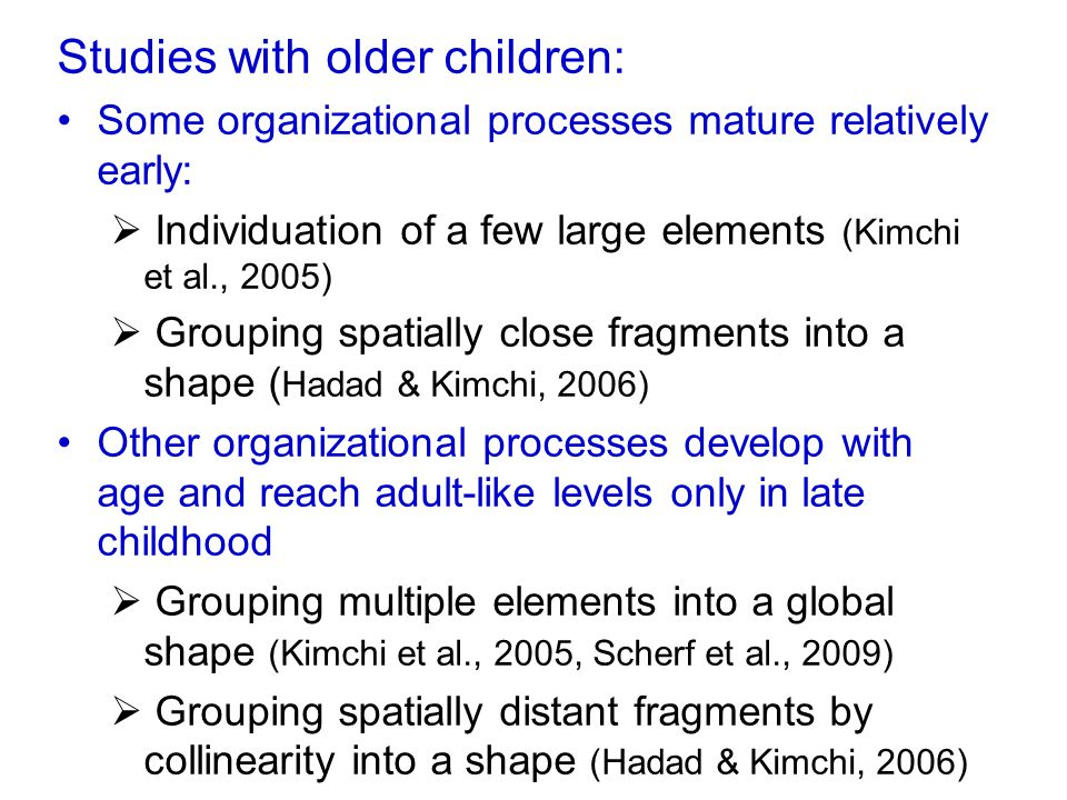 Studies with older children: Some organizational processes mature relatively early:  Individuation of a few large elements (Kimchi et al., 2005)  Gr