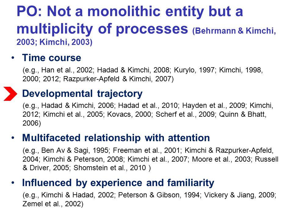 PO: Not a monolithic entity but a multiplicity of processes (Behrmann & Kimchi, 2003; Kimchi, 2003) Time course (e.g., Han et al., 2002; Hadad & Kimch