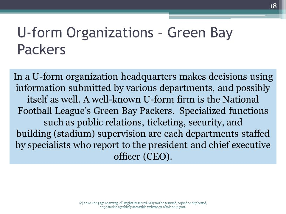 U-form Organizations – Green Bay Packers (c) 2010 Cengage Learning. All Rights Reserved. May not be scanned, copied or duplicated, or posted to a publ