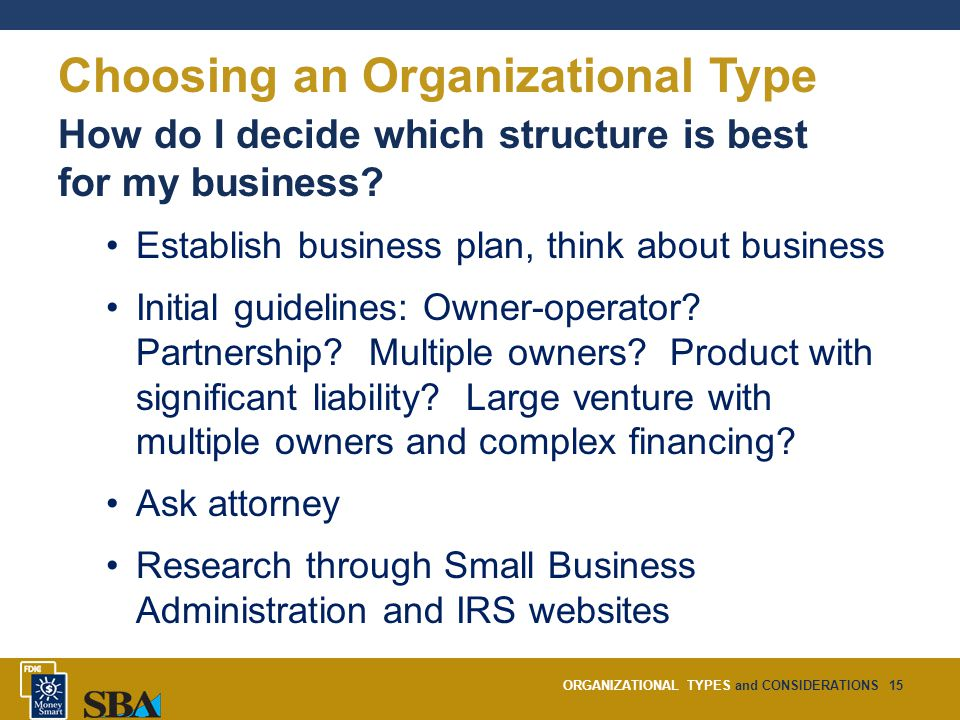 ORGANIZATIONAL TYPES and CONSIDERATIONS15 Choosing an Organizational Type How do I decide which structure is best for my business.