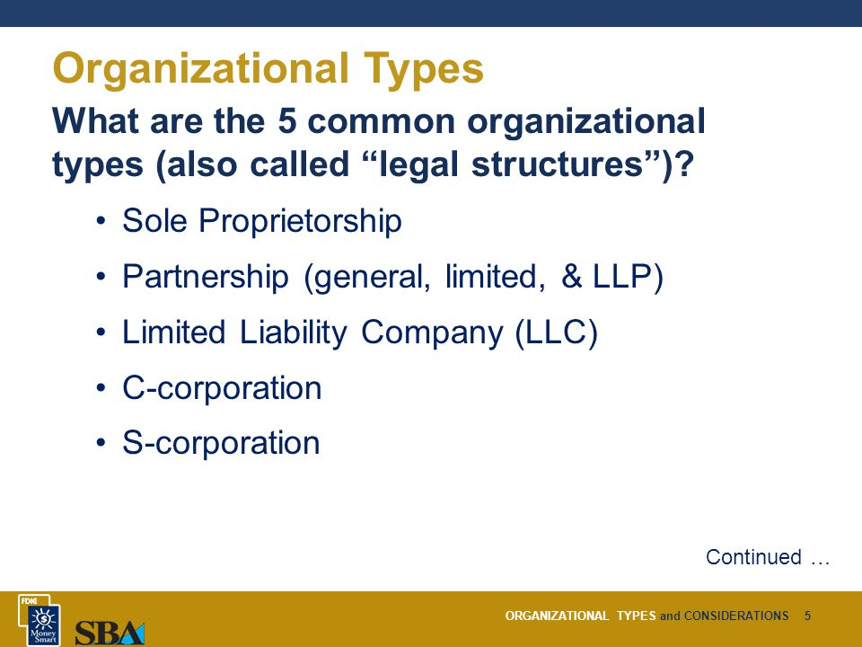 ORGANIZATIONAL TYPES and CONSIDERATIONS5 What are the 5 common organizational types (also called legal structures ).