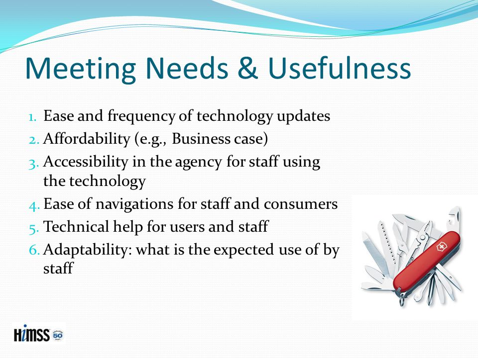 Meeting Needs & Usefulness 1.Ease and frequency of technology updates 2.