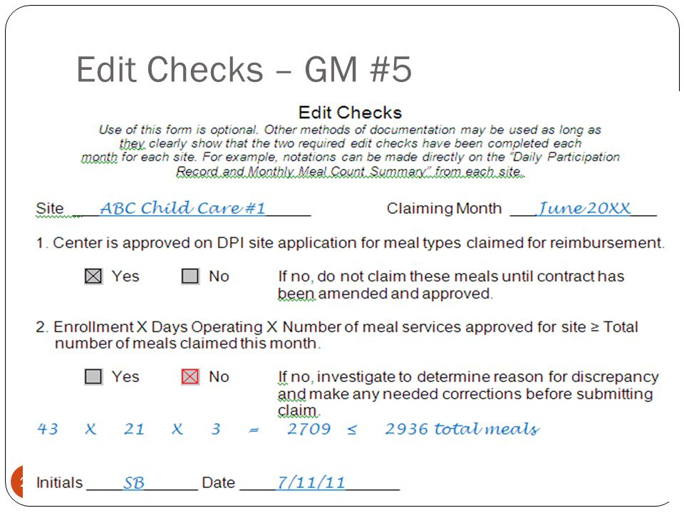 Edit Checks – GM #5 24