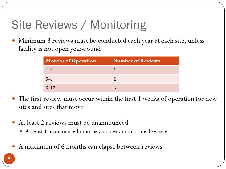 Site Reviews / Monitoring 8 Minimum 3 reviews must be conducted each year at each site, unless facility is not open year-round The first review must occur within the first 4 weeks of operation for new sites and sites that move At least 2 reviews must be unannounced At least 1 unannounced must be an observation of meal service A maximum of 6 months can elapse between reviews Months of OperationNumber of Reviews 1-41 5-82 9-123