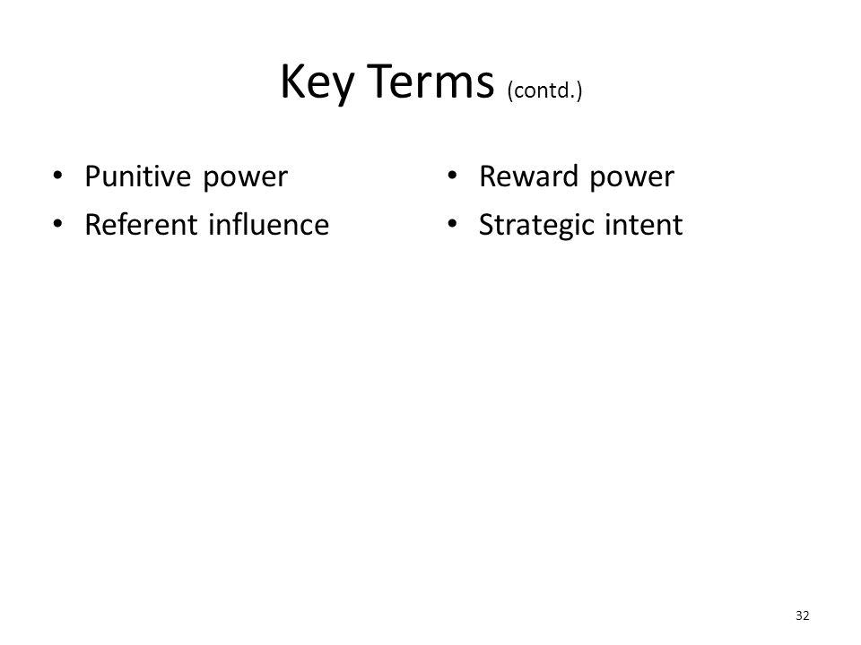 Key Terms (contd.) Punitive power Referent influence Reward power Strategic intent 32