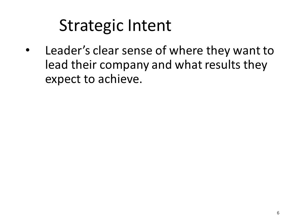 Strategic Intent Leader's clear sense of where they want to lead their company and what results they expect to achieve. 6