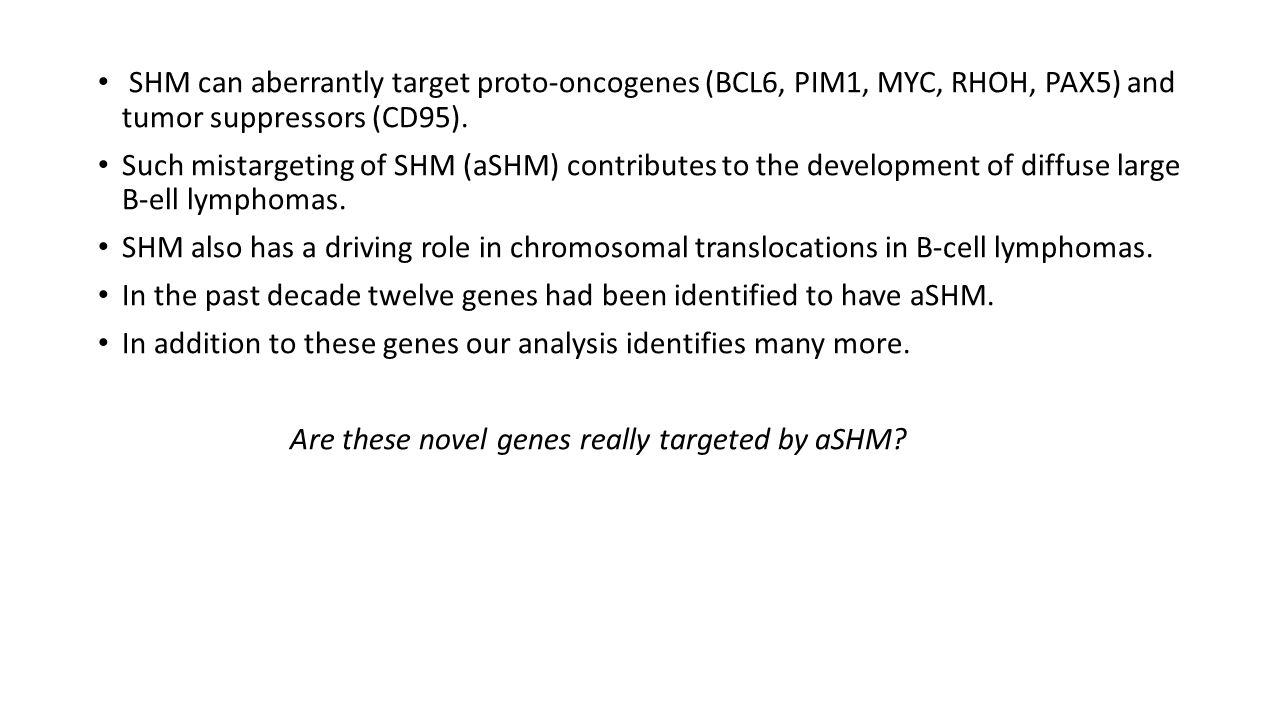 SHM can aberrantly target proto-oncogenes (BCL6, PIM1, MYC, RHOH, PAX5) and tumor suppressors (CD95). Such mistargeting of SHM (aSHM) contributes to t