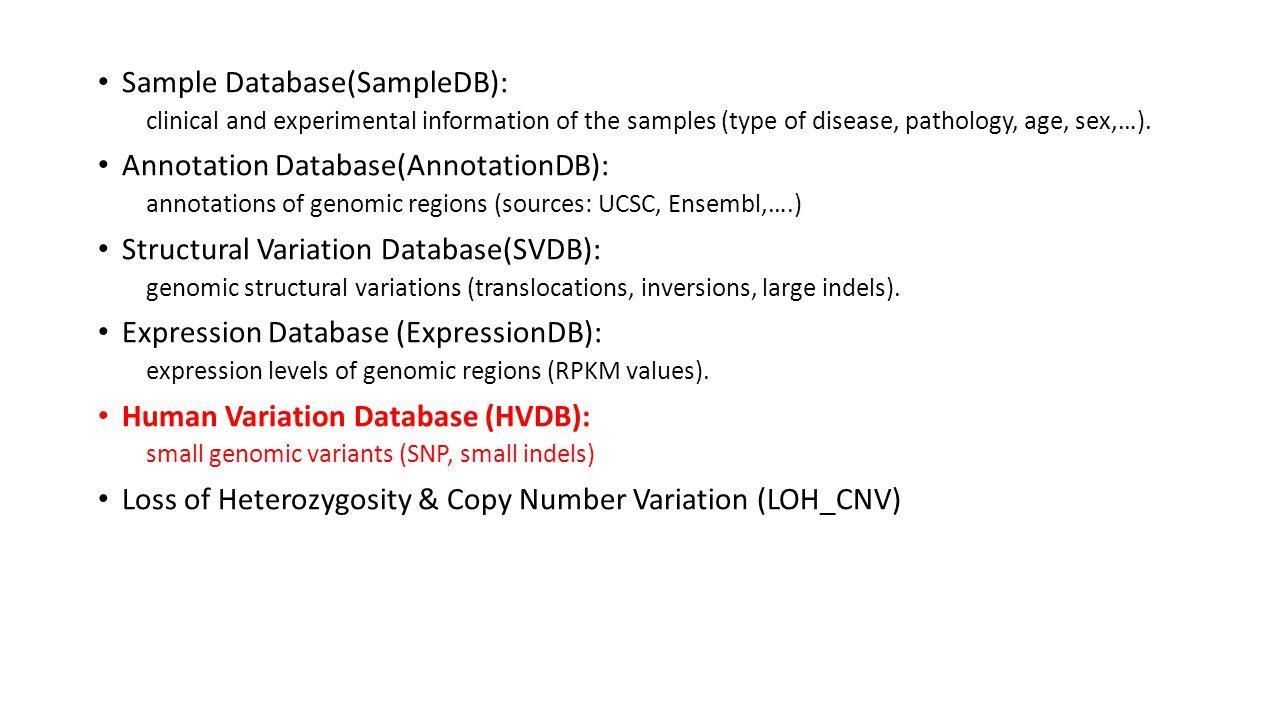 Human Variation Database (HVDB) Starting point of the consortium.