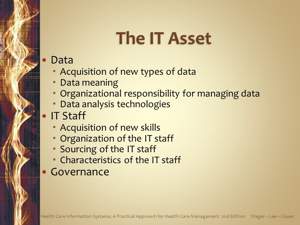 Data  Acquisition of new types of data  Data meaning  Organizational responsibility for managing data  Data analysis technologies IT Staff  Acquisition of new skills  Organization of the IT staff  Sourcing of the IT staff  Characteristics of the IT staff Governance Health Care Information Systems: A Practical Approach for Health Care Management 2nd Edition Wager ~ Lee ~ Glaser