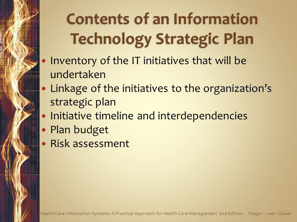 Inventory of the IT initiatives that will be undertaken Linkage of the initiatives to the organization's strategic plan Initiative timeline and interdependencies Plan budget Risk assessment Health Care Information Systems: A Practical Approach for Health Care Management 2nd Edition Wager ~ Lee ~ Glaser