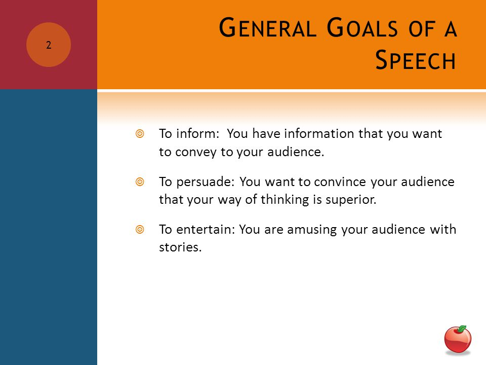 G ENERAL G OALS OF A S PEECH  To inform: You have information that you want to convey to your audience.  To persuade: You want to convince your audi