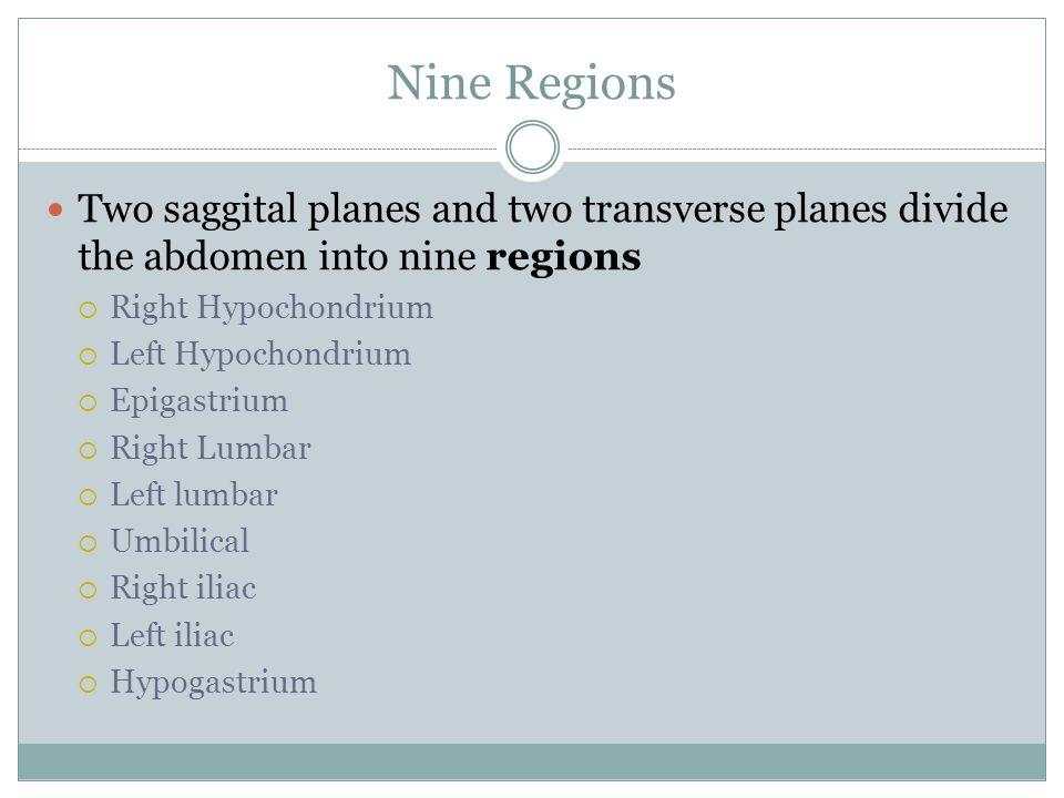 Nine Regions Two saggital planes and two transverse planes divide the abdomen into nine regions  Right Hypochondrium  Left Hypochondrium  Epigastri