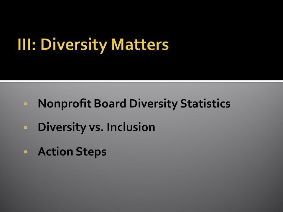  Nonprofit Board Diversity Statistics  Diversity vs. Inclusion  Action Steps