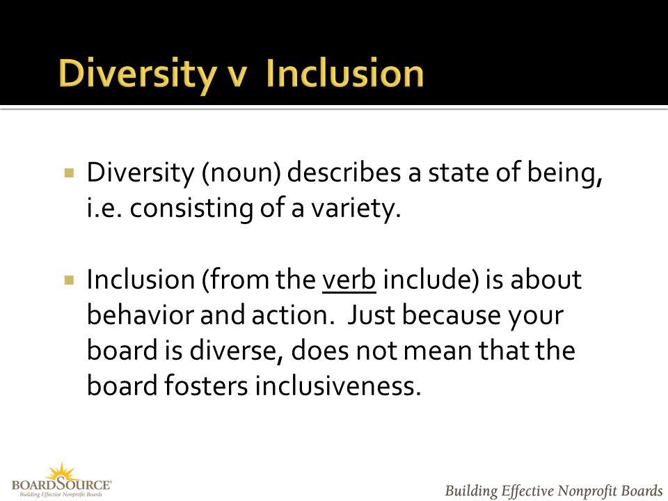  Diversity (noun) describes a state of being, i.e.