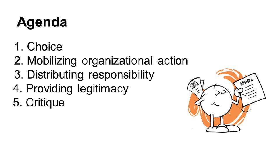 Agenda 1.Choice 2.Mobilizing organizational action 3.Distributing responsibility 4.