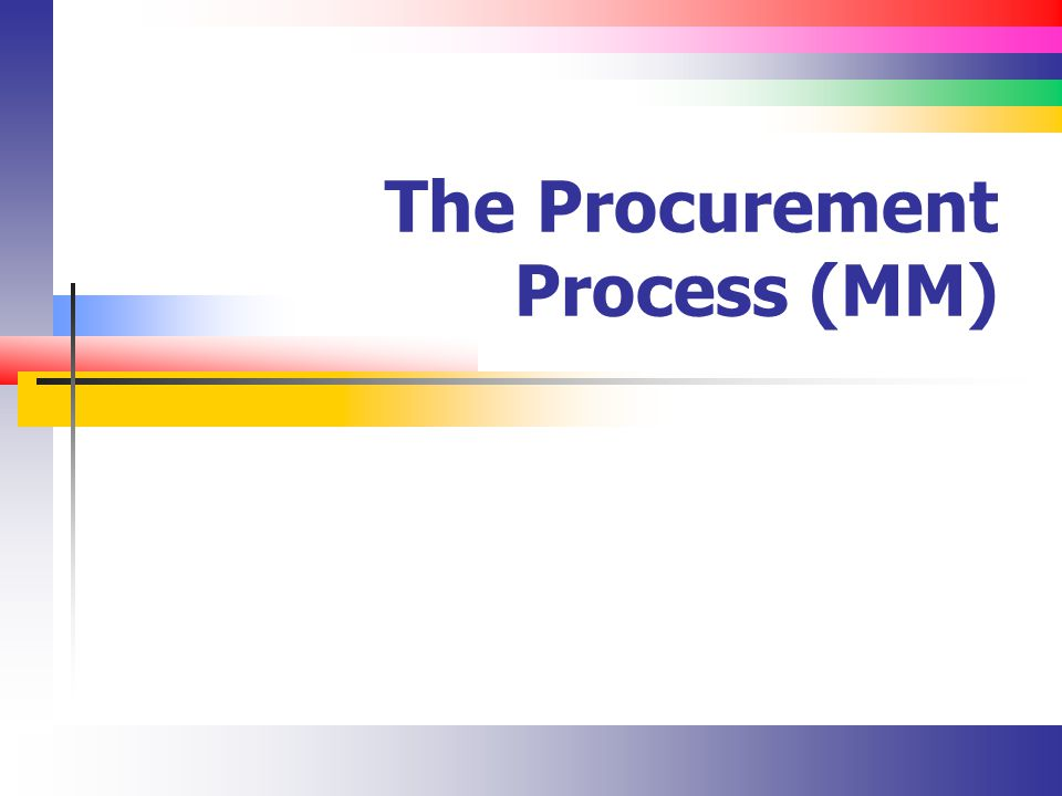 The Procurement Process (MM)