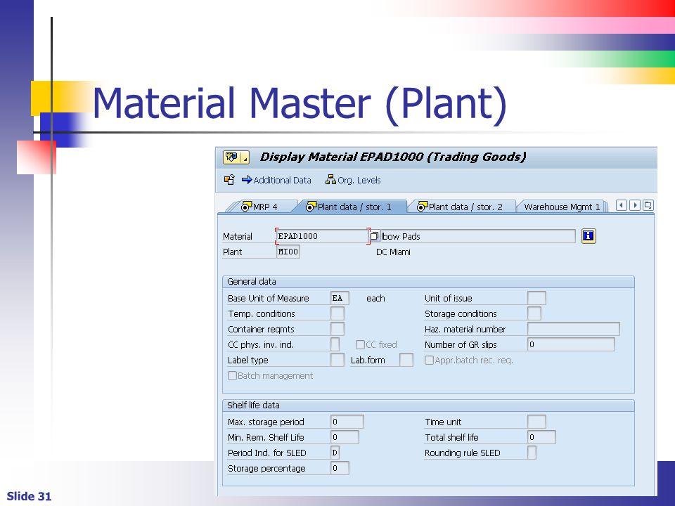 Slide 31 Material Master (Plant)