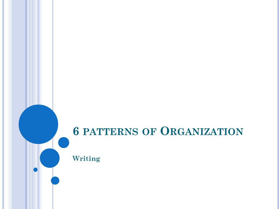 6 PATTERNS OF O RGANIZATION Writing