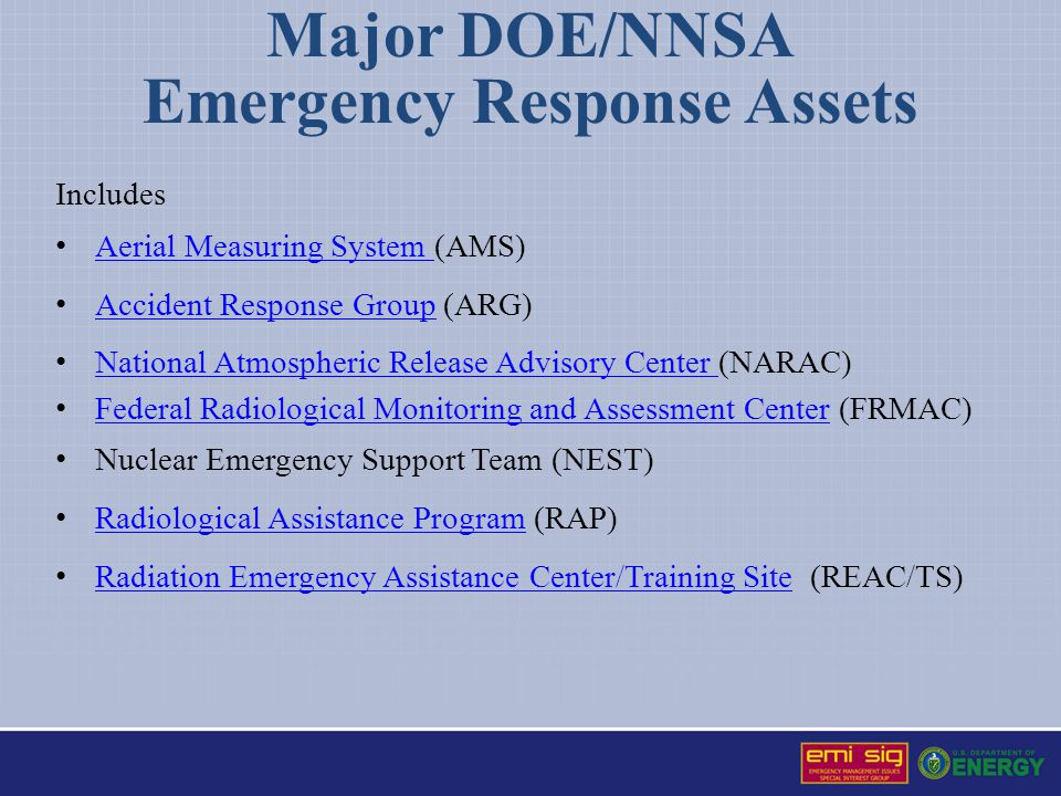 Major Non-DOE/NNSA National Response Assets Includes Environmental Protection Agency (EPA) Environmental Protection Agency Federal Bureau of Investigation (FBI) Federal Bureau of Investigation Department of Homeland Security (DHS) Department of Homeland Security o Federal Emergency Management Agency (FEMA) Federal Emergency Management Agency Department of Defense (DoD) Department of Defense Department of Health and Human Services (HHS) Department of Health and Human Services o Centers for Disease Control and Prevention (CDC) Centers for Disease Control and Prevention American Red Cross (ARC) American Red Cross Other local and State response agencies