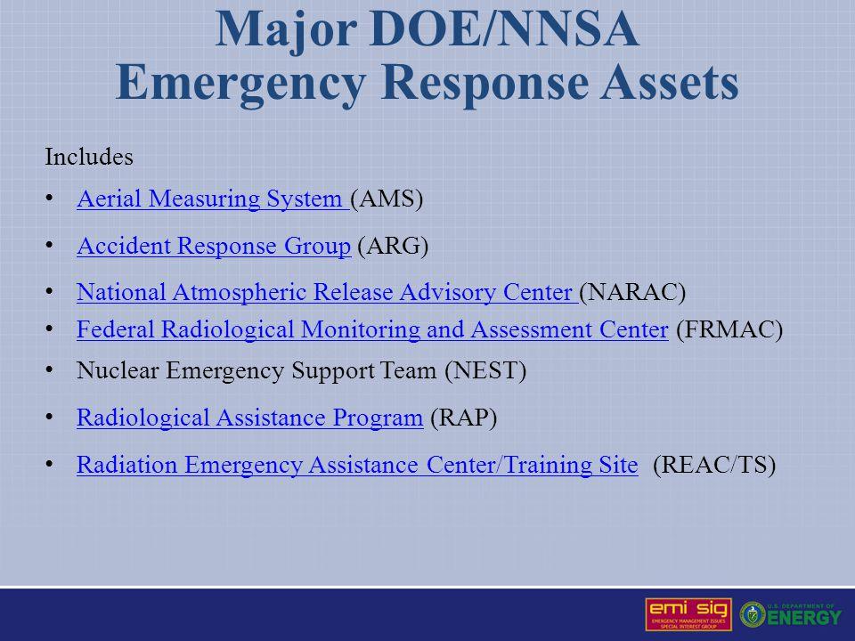 Major DOE/NNSA Emergency Response Assets Includes Aerial Measuring System (AMS) Aerial Measuring System Accident Response Group (ARG) Accident Respons