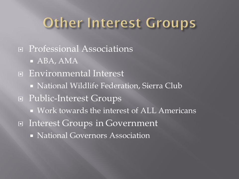  Professional Associations  ABA, AMA  Environmental Interest  National Wildlife Federation, Sierra Club  Public-Interest Groups  Work towards the interest of ALL Americans  Interest Groups in Government  National Governors Association
