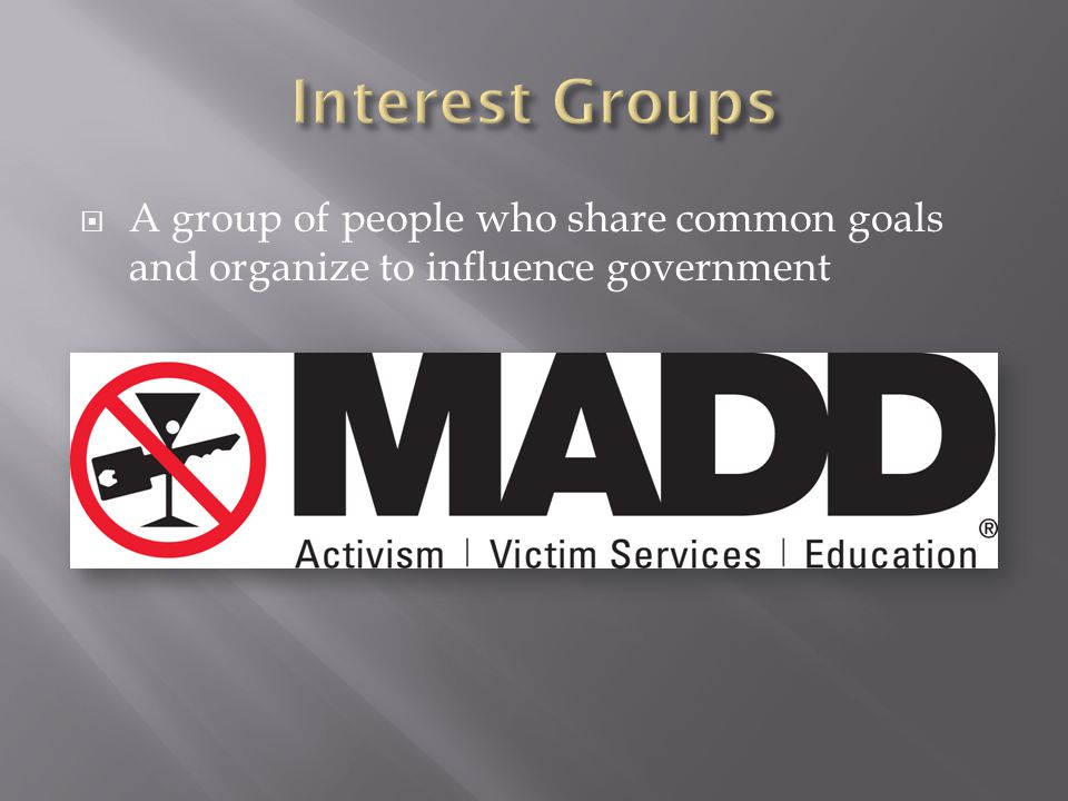  A group of people who share common goals and organize to influence government