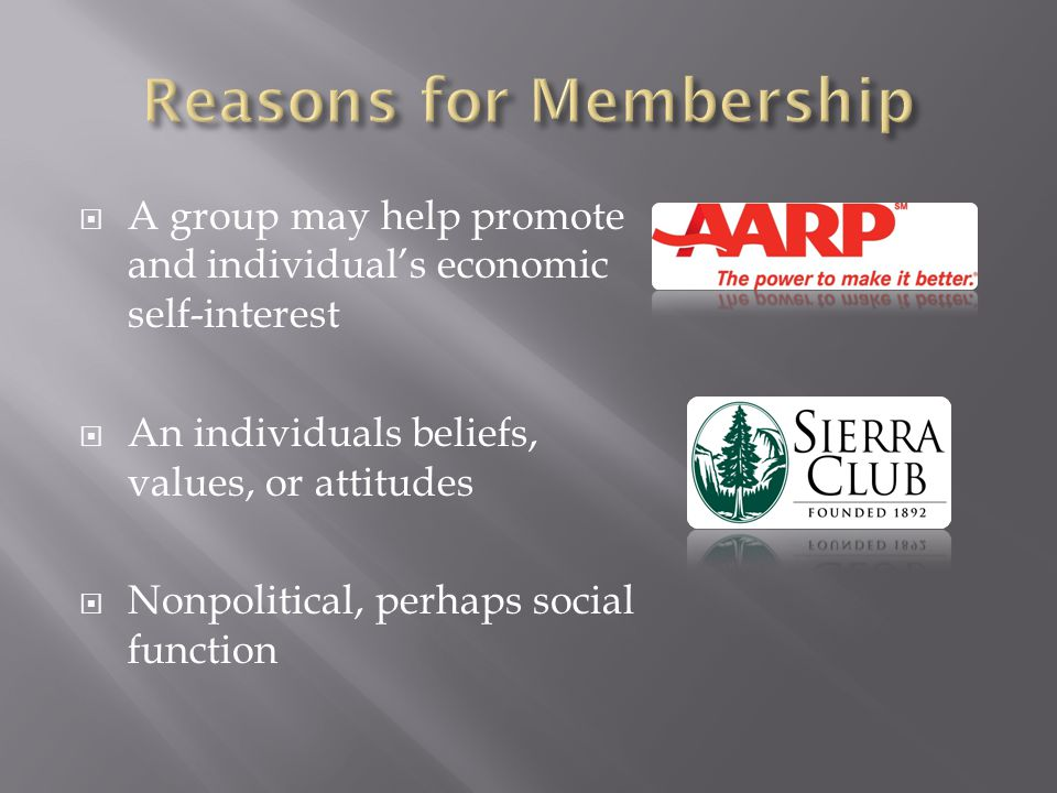  A group may help promote and individual's economic self-interest  An individuals beliefs, values, or attitudes  Nonpolitical, perhaps social function