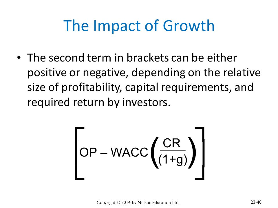 The Impact of Growth The second term in brackets can be either positive or negative, depending on the relative size of profitability, capital requirem