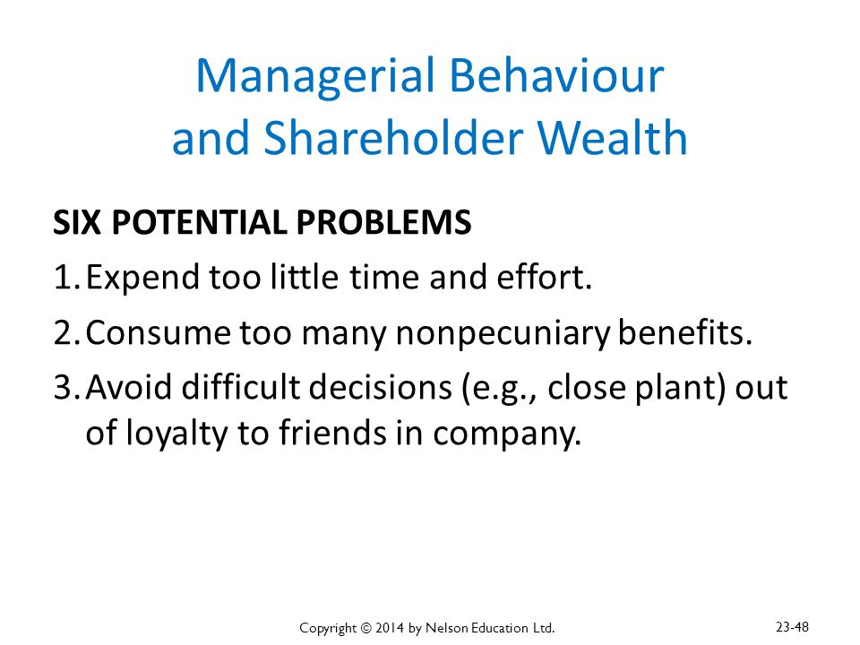 Managerial Behaviour and Shareholder Wealth SIX POTENTIAL PROBLEMS 1.Expend too little time and effort. 2.Consume too many nonpecuniary benefits. 3.Av
