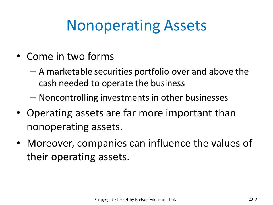 Nonoperating Assets Come in two forms – A marketable securities portfolio over and above the cash needed to operate the business – Noncontrolling inve