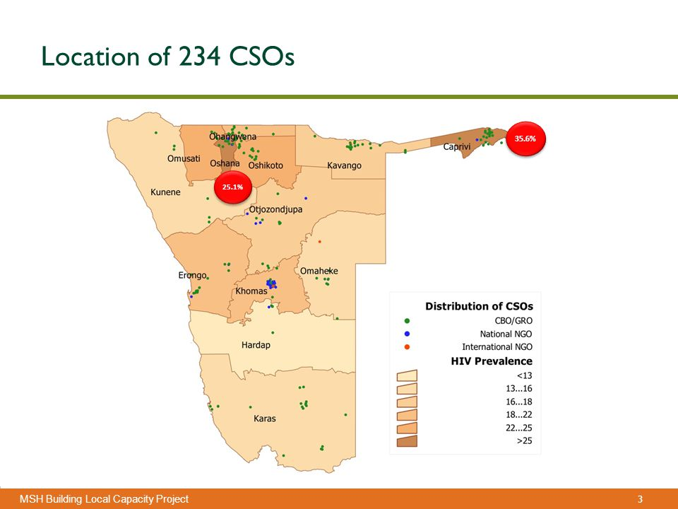 3 Management Sciences for Health MSH Building Local Capacity Project Location of 234 CSOs 25.1% 35.6%