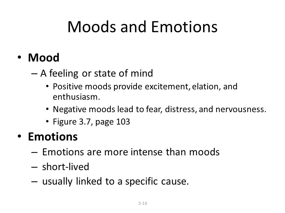 Moods and Emotions Mood – A feeling or state of mind Positive moods provide excitement, elation, and enthusiasm. Negative moods lead to fear, distress