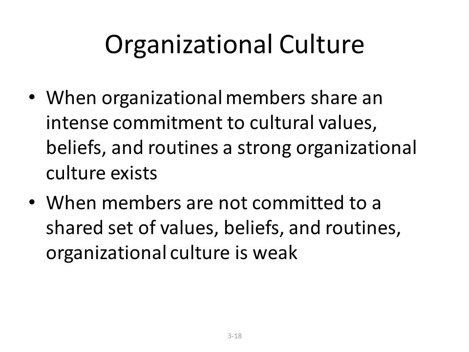 Organizational Culture When organizational members share an intense commitment to cultural values, beliefs, and routines a strong organizational culture exists When members are not committed to a shared set of values, beliefs, and routines, organizational culture is weak 3-18