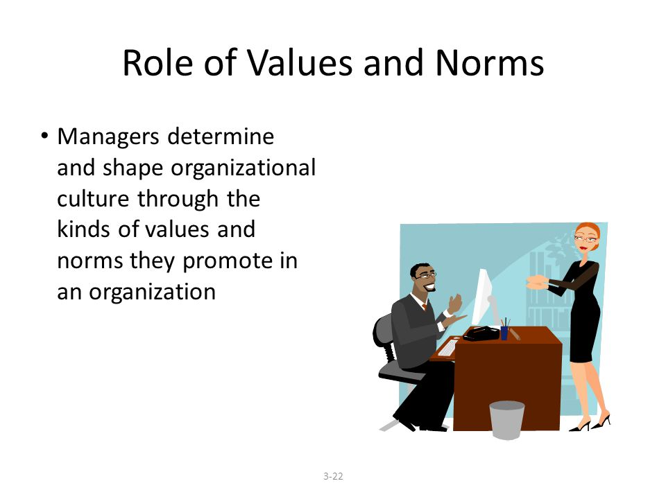 Role of Values and Norms Managers determine and shape organizational culture through the kinds of values and norms they promote in an organization 3-22