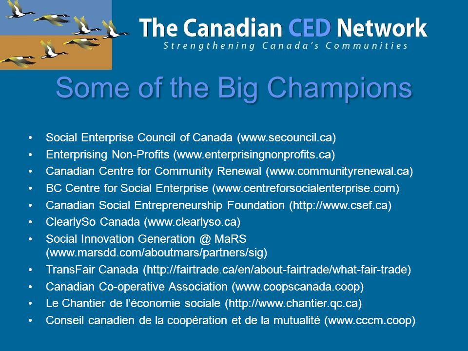 Some of the Big Champions Social Enterprise Council of Canada (www.secouncil.ca) Enterprising Non-Profits (www.enterprisingnonprofits.ca) Canadian Centre for Community Renewal (www.communityrenewal.ca) BC Centre for Social Enterprise (www.centreforsocialenterprise.com) Canadian Social Entrepreneurship Foundation (http://www.csef.ca) ClearlySo Canada (www.clearlyso.ca) Social Innovation Generation @ MaRS (www.marsdd.com/aboutmars/partners/sig) TransFair Canada (http://fairtrade.ca/en/about-fairtrade/what-fair-trade) Canadian Co-operative Association (www.coopscanada.coop) Le Chantier de l'économie sociale (http://www.chantier.qc.ca) Conseil canadien de la coopération et de la mutualité (www.cccm.coop)