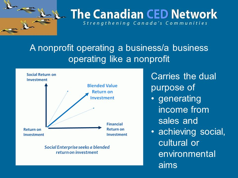 A nonprofit operating a business/a business operating like a nonprofit Carries the dual purpose of generating income from sales and achieving social, cultural or environmental aims
