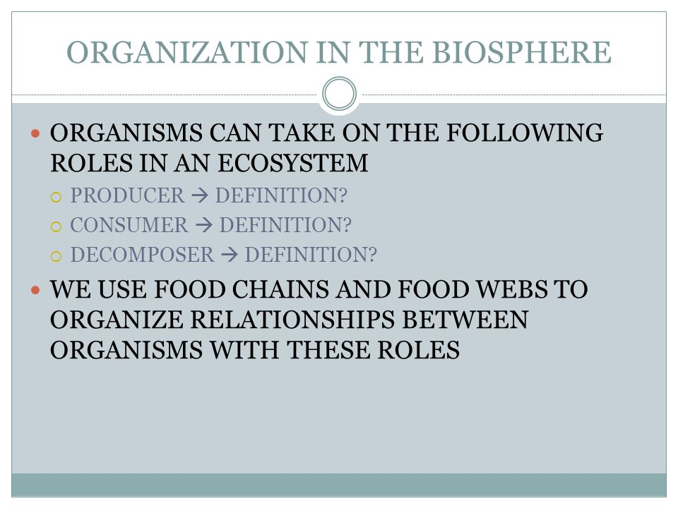 ORGANIZATION IN THE BIOSPHERE ORGANISMS CAN TAKE ON THE FOLLOWING ROLES IN AN ECOSYSTEM  PRODUCER  DEFINITION.