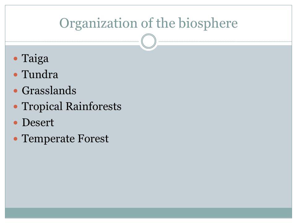 Organization of the biosphere Taiga Tundra Grasslands Tropical Rainforests Desert Temperate Forest