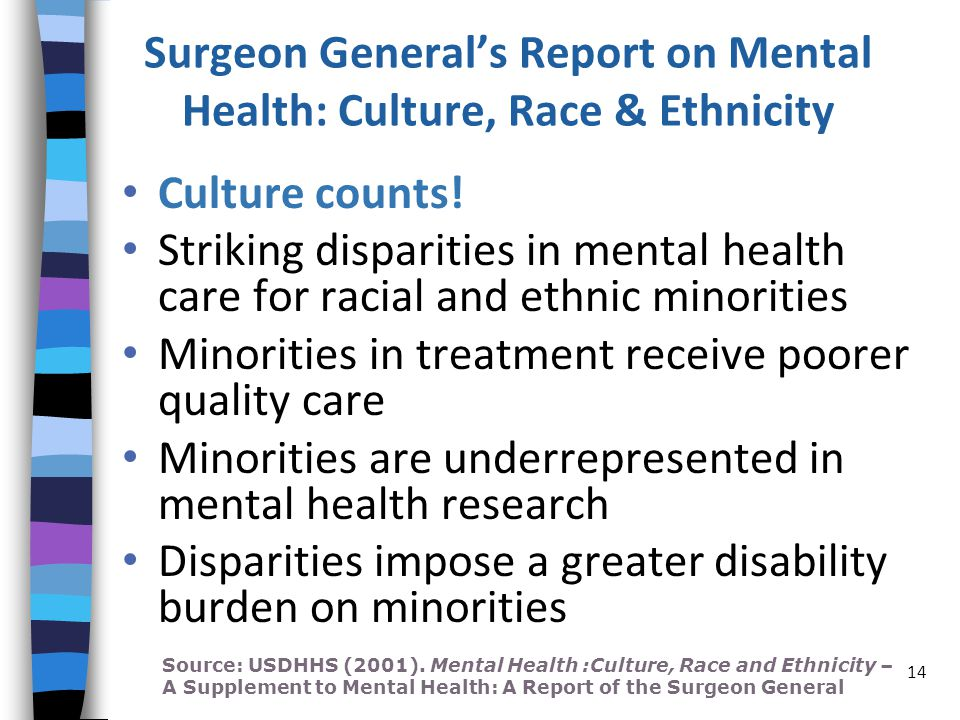 Surgeon General's Report on Mental Health: Culture, Race & Ethnicity Culture counts.