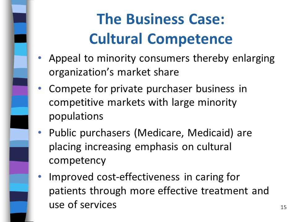 The Business Case: Cultural Competence Appeal to minority consumers thereby enlarging organization's market share Compete for private purchaser business in competitive markets with large minority populations Public purchasers (Medicare, Medicaid) are placing increasing emphasis on cultural competency Improved cost-effectiveness in caring for patients through more effective treatment and use of services 15