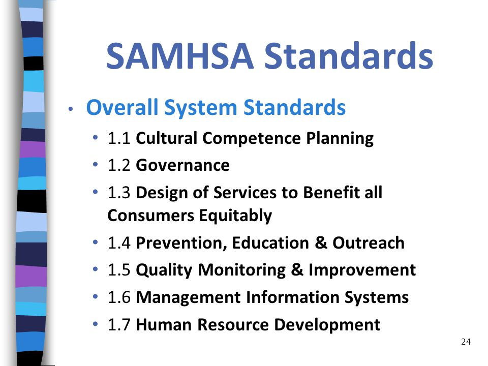 SAMHSA Standards Overall System Standards 1.1 Cultural Competence Planning 1.2 Governance 1.3 Design of Services to Benefit all Consumers Equitably 1.4 Prevention, Education & Outreach 1.5 Quality Monitoring & Improvement 1.6 Management Information Systems 1.7 Human Resource Development 24