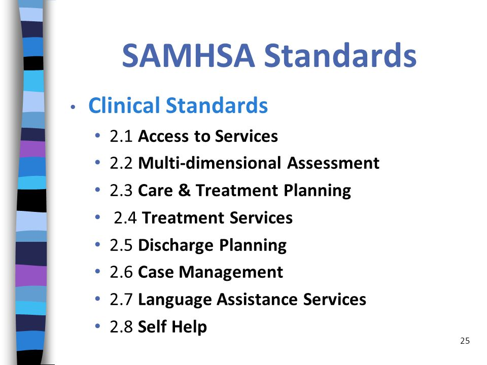 SAMHSA Standards Clinical Standards 2.1 Access to Services 2.2 Multi-dimensional Assessment 2.3 Care & Treatment Planning 2.4 Treatment Services 2.5 Discharge Planning 2.6 Case Management 2.7 Language Assistance Services 2.8 Self Help 25