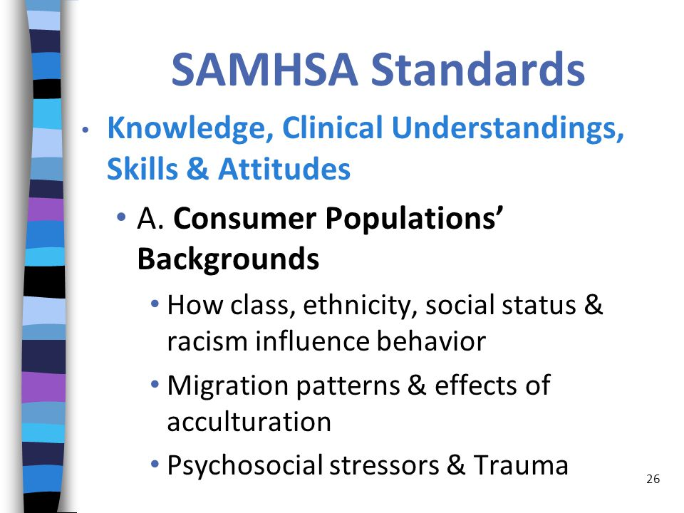 SAMHSA Standards Knowledge, Clinical Understandings, Skills & Attitudes A.