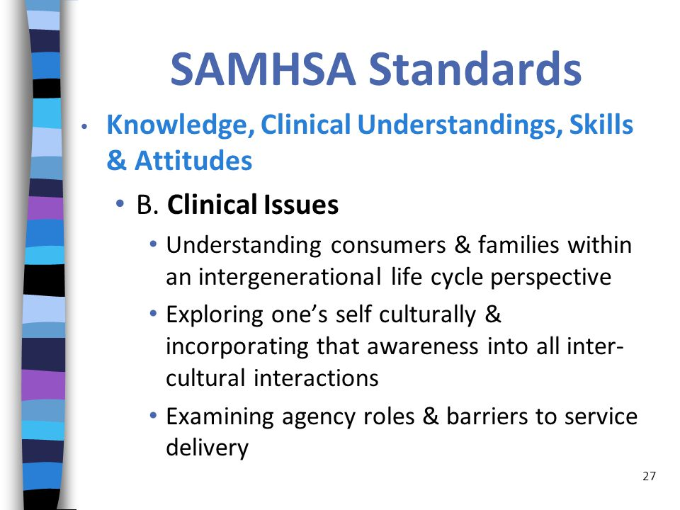 SAMHSA Standards Knowledge, Clinical Understandings, Skills & Attitudes B.